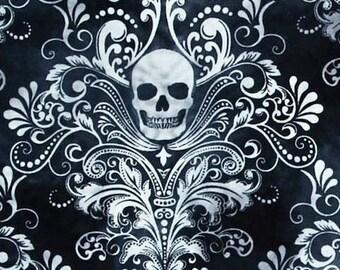 "Elegant Sugar Skull Cotton  Print Valance or Panel  12"" 14"" 18"" 24' 32"" Lined or Unlined"