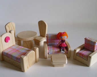 Natural Wood Toy, Wooden Dollhouse Furniture Set, Handmade Doll House Toy, Kids Birthday gift, Waldorf inspired, Jacobs Wooden Toys