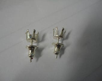 Sterling Silver 6 prong Snap Set earring posts  for 6mm round stones