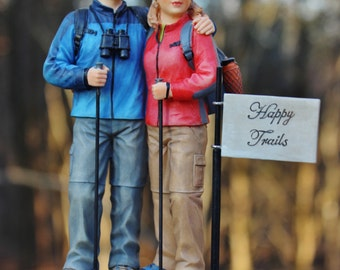 Hiking Couple Outdoors Walking Wedding Cake Topper Happy Trails..LAST one