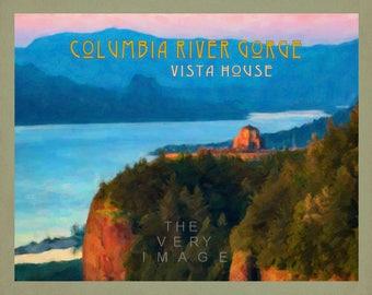 Oregon Art, Columbia River Gorge, Vista House Print, Oregon Travel Poster, Pacific Northwest Wall Art #vi870