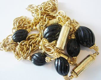 Vintage long twisted gold chain necklace with black beads (CC3)