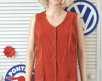 Vintage Women's 60s Suede Leather Vest Fire Orange Boho Hippie Theater Costume Outerwear Micro Mini Dress Sunny South size Large