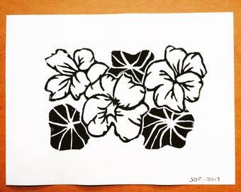Nasturtiums | Block Print