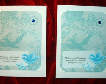 Blue Birds Friendship Card Set Blank Inside