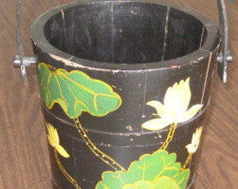 Vintage old wood firkin bucket tole painted antique