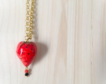 Sicilian Jewelry - Long gold plated necklace with hand-painted Sicilian ceramic strawberry pendant