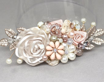 Rose Gold Bridal Comb- Rose Gold Hairpiece- Bridal Hair Accessories- Wedding Hair Accessory- Blush Pink Bridal Hairpiece-Rose Gold Hair Comb