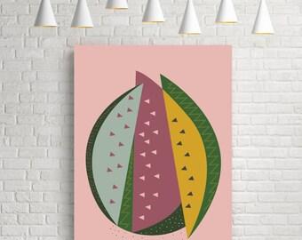 Modern abstract print, mid century modern art, mid century print, modern art, kitchen print, modern art print, modern wall art, watermelon