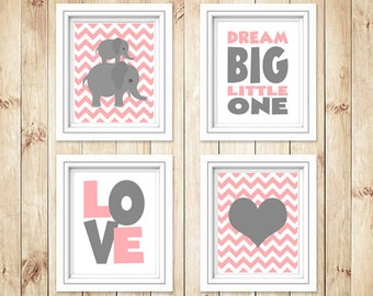 """Set of 4 Pink colored Elephant nursery pictures, Instant Download, Dream Big Little One, Pink and Gray Nursery, Pink Nursery Decor, 8 x 10"""""""