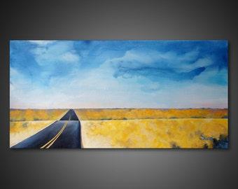 Landscape Wall Art - large canvas art, prairie art painting, giclee art PRINTs on CANVAS, modern wall decor, canola field, highway wall art