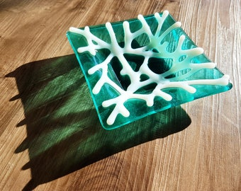 Fused glass coral dish