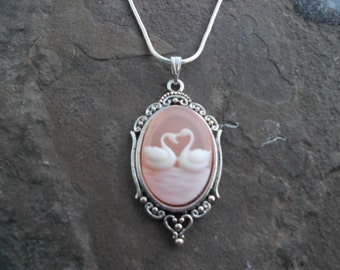 "Stunning Two Swans (Heart) Cameo Pendant Necklace (pale peach)---.925 plated 22"" Chain--- Great Quality"