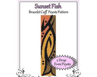 Bead Pattern Peyote(Bracelet Cuff)-Sunset Fish