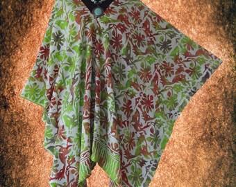 Tropical Handmade Floral Batik V neck Poncho Tunic Top blouse
