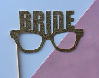 Gold Glitter Bride Glasses Photo Prop