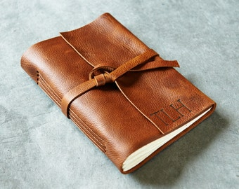 Personalized Leather Notebook / Leather Sketchbook / Leather Journal / Brandy 5x7 - Initials Optional