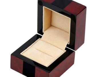 Makah Burl and Piano Black Ring Box (001BYG)