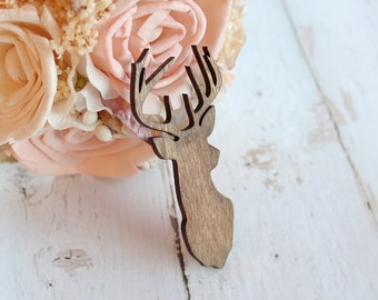 Buck Head Boutonniere Rustic Wedding Boutonniere Groomsmen Boutonniere Country Wedding Stag Head #DownInTheBoondocks