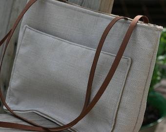 Off White Shoulder Bag, Big Off White Handbag, Fa Shoulder Bag, Big Handmade Linen + Polyester Bag, Handmade Gift , Off White Tote,