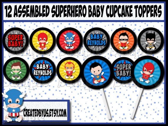 Baby Boy Superhero Cupcake Toppers Super Hero Baby Shower
