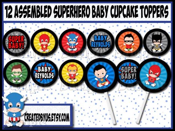 Baby Boy Superhero Cupcake Toppers Super Hero Baby Shower Decorations  Custom Superhero Cupcake Picks Cake Topper Cupcake Top 12 Assembled From  CREATEDBYUS ...