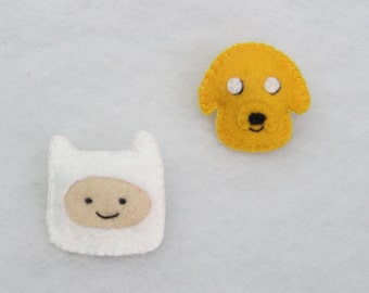 Adventure time! Finn the human and Jake the dog - felt brooch