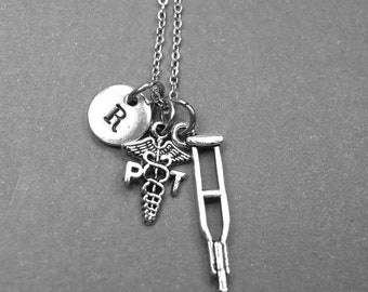 Physical therapists necklace, crutches necklace, physical therapist gift, physical therapy necklace, personalized necklace, initial necklace