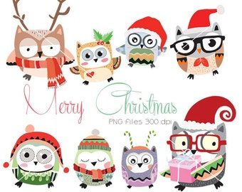 Owl christmas,Christmas Clipart Instant Download,PNG,JPEG file - 300 dpi