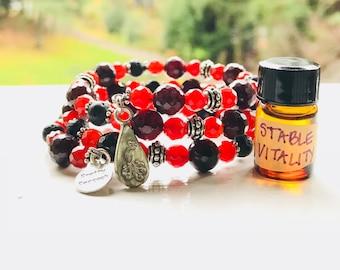 Garnet + Carnelian Essential Oil Diffuser Gemstone Fully Adjustable Bracelet w/ Sample Essential Oil Aromatherapy Blend