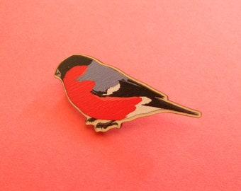 Bullfinch wooden brooch/badge