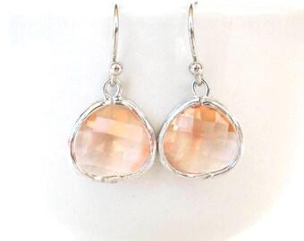 Champagne glass earrings Blush bridesmaids drop earring Peach silver earring Peach earrings Nude earrings Peach bridesmaids Blush bridesmaid