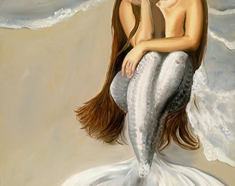 You'll never know.        Large Mermaid oil painting, 30x40, beach scene, wall art, home decor, beautiful colors of silver and brown