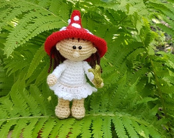 Art Doll Crochet doll Amigurumi doll present for girls gift for girl doll handmade doll toy for girls amanita mushroom soft collectible doll