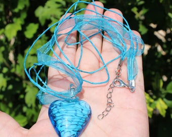1 PENDANT BEAD LAMPWORK MURANO HEART BLUE MULTICOLOR 30 X 48 X 14 MM.