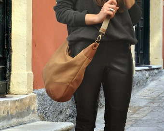 Handmade  crossbody  hobo bag, shoulder bag, canvas with leather accents, called Marianthi