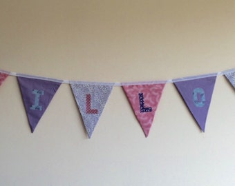 Personalised fabric bunting / pink and purple bunting / price per flag