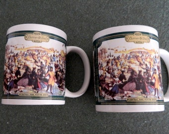 Currier & Ives Collectible Mug Central Park Winter Skating Pond Charles Parsons