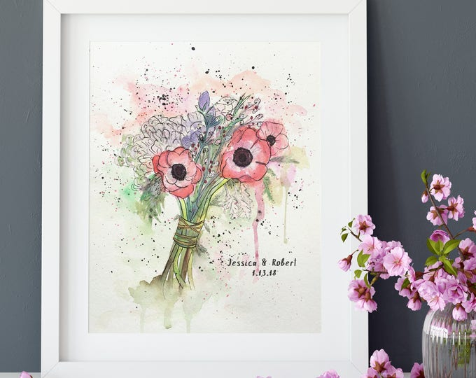 Custom Wedding Bouquet Painting - Bridal Bouquet Watercolor Art - Custom Flower Illustration - Gift for Wife First Wedding Anniversary