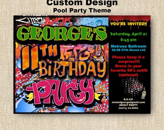 GRAFFITI THEMED Party Invitation -PRINTED Invitations with envelope - Tagging - Paint Splatter - Hip Hop - 90's Party - 80's Party