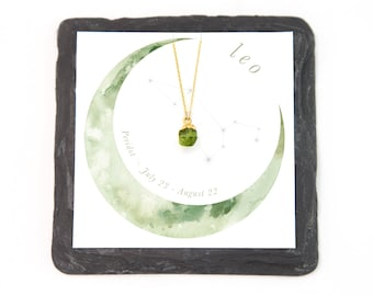 Zodiac Necklace Gift, Leo Necklace, Tiny Peridot Necklace, August Birthday Gift, Celestial Gift for Her, Raw Crystal Healing Pendant, Dainty