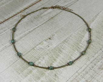 Antique Bronze and Verdigris faceted Choker for Layering