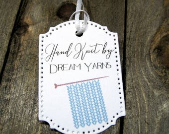 Hand knit Tags -  Set of 20 - Personalized - Store tags - Handmade - Hand made - Knitting needles - yarn - Handmade by - Hang tags