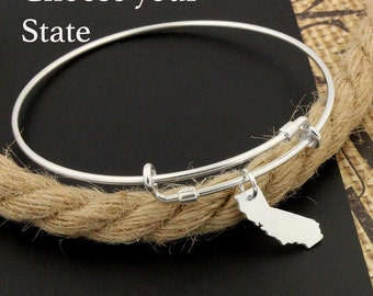 Personalized Expandable Bangle Bracelet STERLING SILVER Choose your State Charm Adjustable Bangle bracelet United States Bracelet
