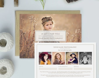 Photography Studio Gift Certificate Template, Photography Gift Card Template - GCT105B - Organic Set