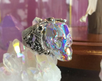 Aura Crystal Skull ring, made using Swarovski AB crystal skull, adjustable brass band