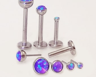 16g Purple Opal TITANIUM PUSH PIN Threadless Custom Length 5, 6, 7 ,8, 9 or 10mm Tragus Helix Medusa Lip Cartilage Sensitive Earring ~1 Stud