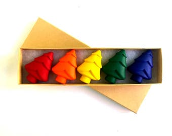 Boxed Set of 5 Christmas Tree Crayons, Stocking Stuffer for Kids, Gifts Under 20, Gifts for Kids, Woodland Birthday, Lumberjack Birthday