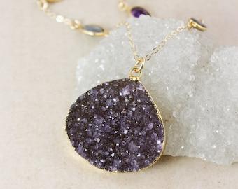 50% OFF SALE - Statement Purple Druzy Necklace – Blue Labradorite and Purple Amethyst