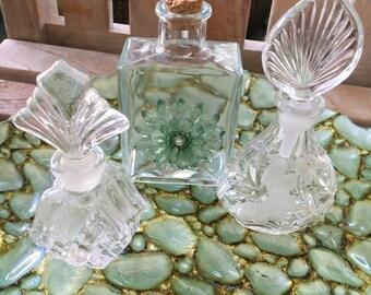 Vintage Bottle Trio, Vintage Glass Bottles, One Hand Crafted Bottle